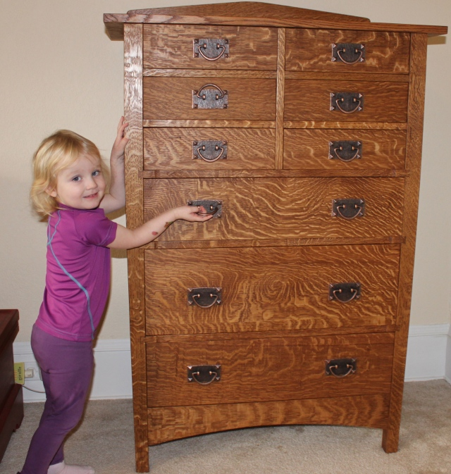 Caitlin's new dresser- Harvey Ellis 9-Drawer dresser in quartersawn white oak