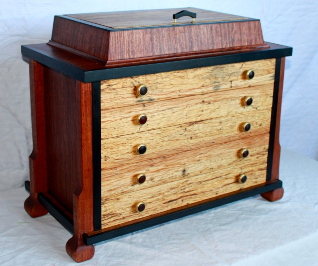 Large Jewelry box, bubinga, mahogany and ebony with Pendelton wool drawer linings.