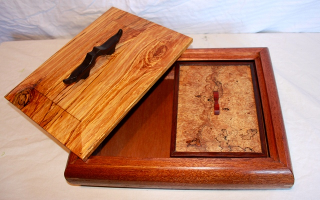 Large curvet valet with inner box. Spalted wood and mahogany with wenge and paduk pulls.
