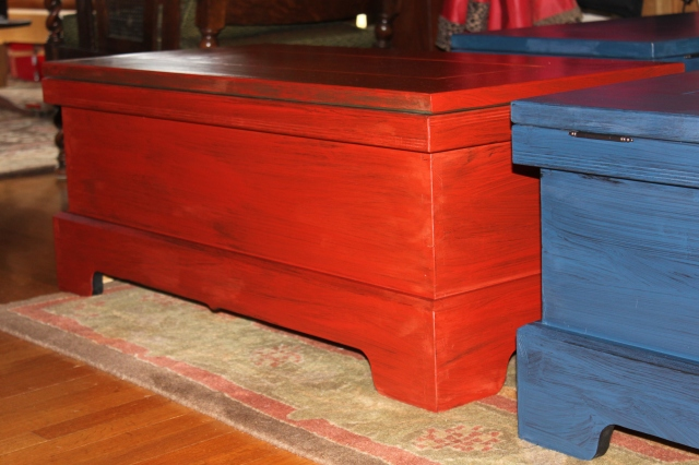 Milk painted blanket chests. $400