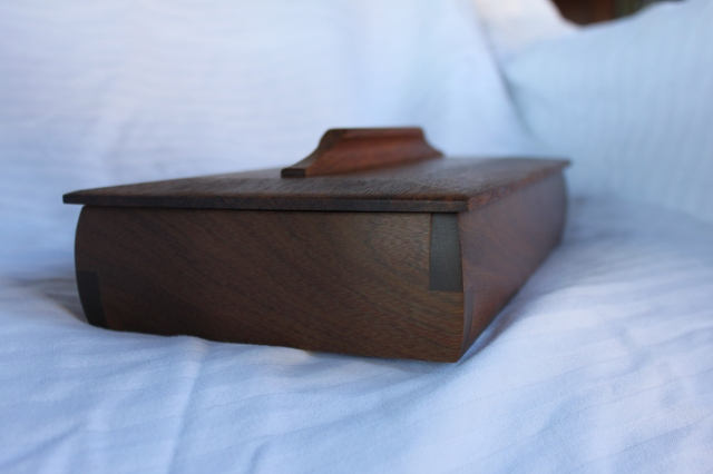 Ipe box with teak top and rosewood dividers- $125