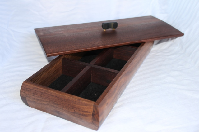 Walnut jewelry box with ebony lift and rosewood dividers - $100