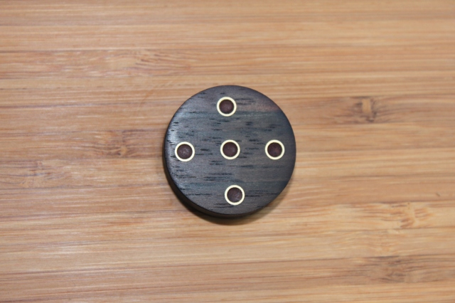 Bamboo box pull- rosewood, brass and paduk.
