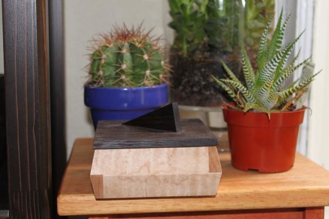 rippled maple sushi box with wenge top $125