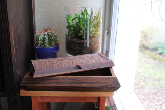 Black walnut sushi box with top textured front and back $215