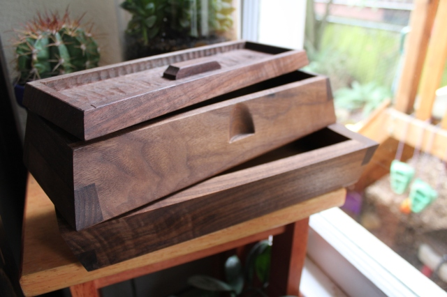 double tiered walnut sushi box with textured top $195