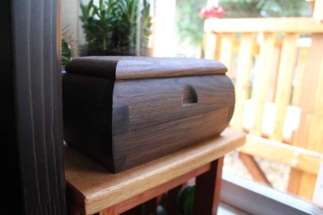 double tiered black walnut sushi box with textured op $195