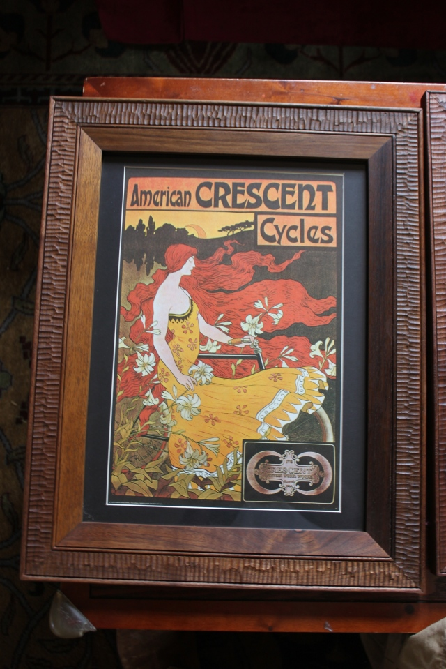 crescent cycles print with walnut frame - $175