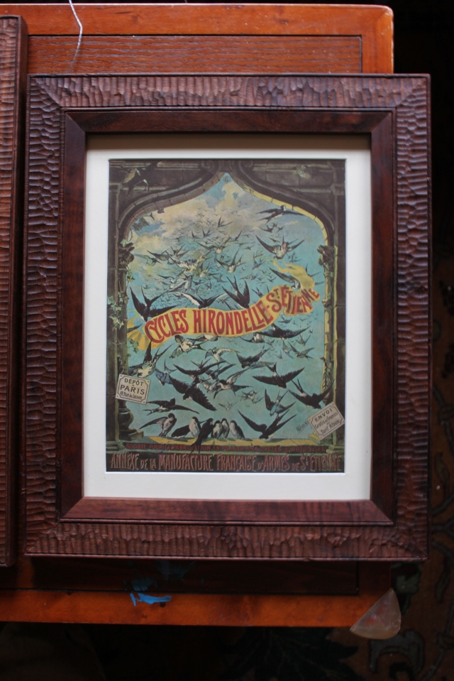 Bird bike print with walnut frame - $175
