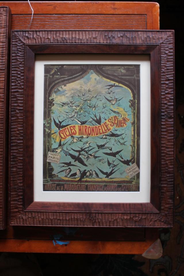 Bird bike print with walnut frame - $175
