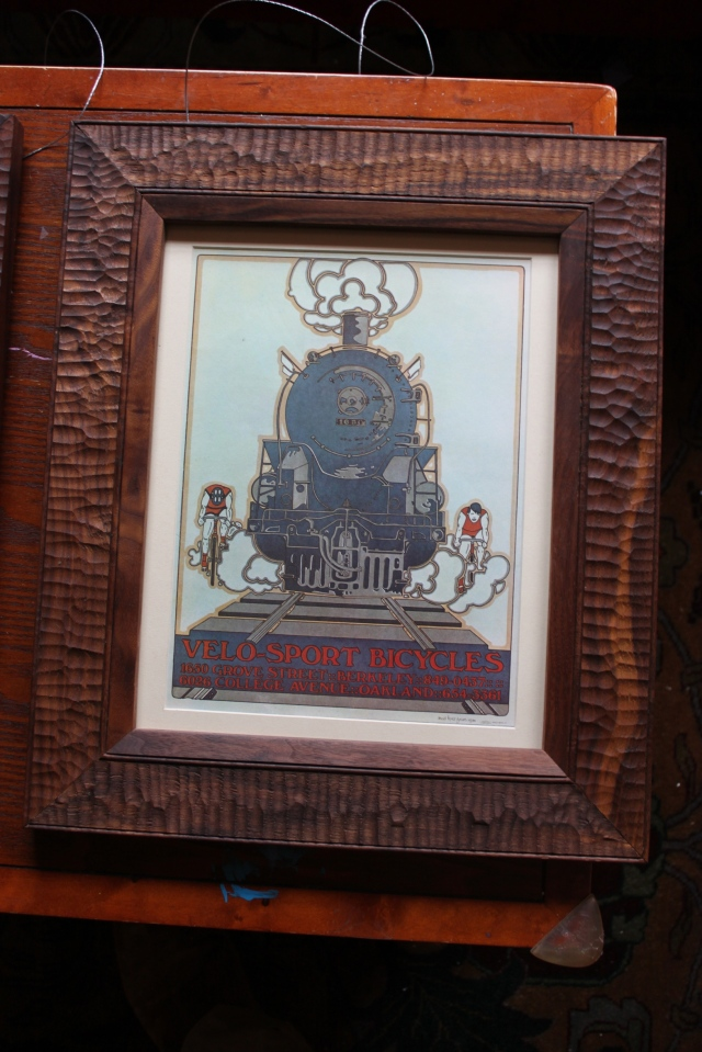 locomotive and bike print with walnut frame - $175